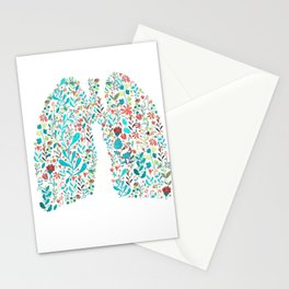 breathing in white Stationery Cards