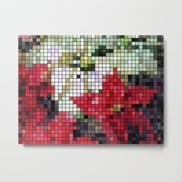 Mixed Color Poinsettias 2 Mosaic Metal Print
