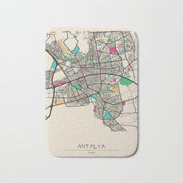 Colorful City Maps: Antalya, Turkey Bath Mat
