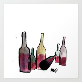 Wine Bottles 3 Art Print
