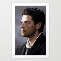castiel Art Prints featuring Castiel by Ansze