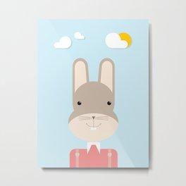 Bunny • Colorful Illustration Metal Print