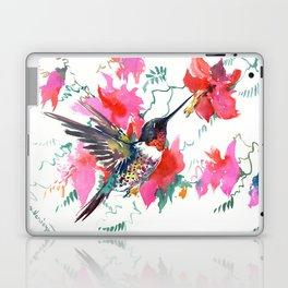 Flying Hummingbird and Pink Flowers, Tropical Foliage floral bird art Laptop & iPad Skin