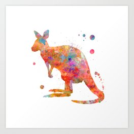 Colorful Kangaroo Art Print