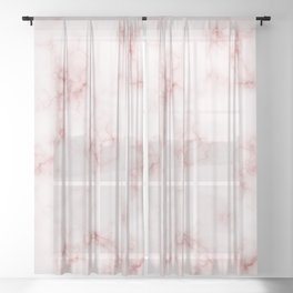 Amazing Light Marble with Coral Veins Sheer Curtain