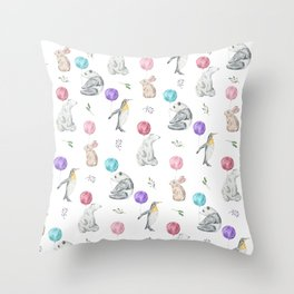 Animals with Balloons Throw Pillow