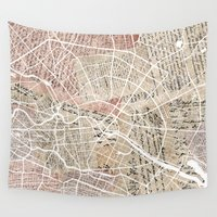 berlin Wall Tapestries featuring Berlin by Mapsland