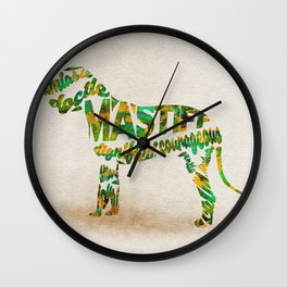 Mastiff Dog Typography Art / Watercolor Painting Wall Clock