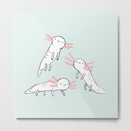 Three Little Axolotls Metal Print