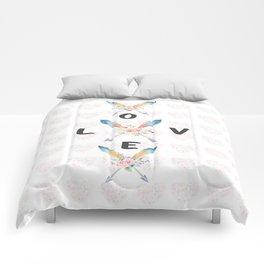 Watercolor Roses Arrows Love Typography Comforters