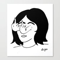 fuck you Canvas Prints featuring Fuck you by Alba Feito