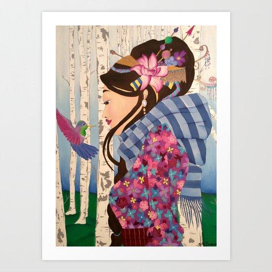 Geisha with hummingbird Art Print