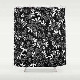 Rosalia Black Shower Curtain