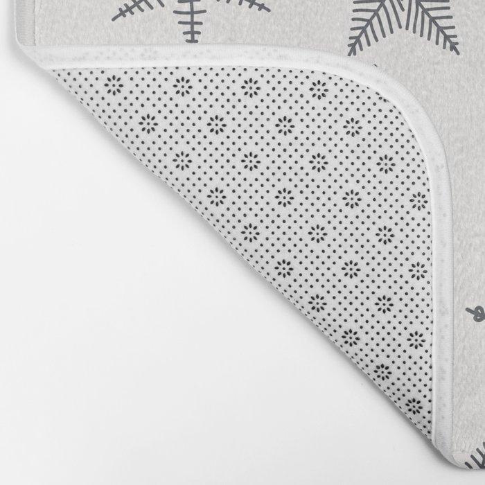 Grey Snowflakes On White Background Bath Mat