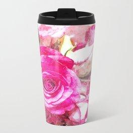 Bunch of Pink roses (watercolour) Metal Travel Mug