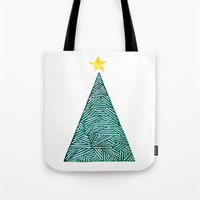 christmas tree Tote Bags featuring Christmas tree by Bridget Davidson