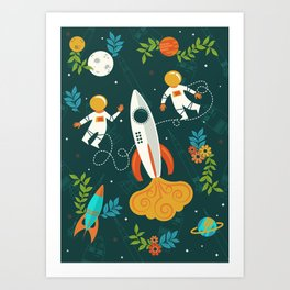 Race to the Moon with Flower Power Art Print