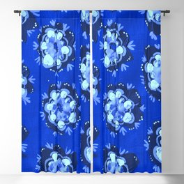 Blue Nevada Rose Blackout Curtain