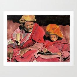 Lama and novice Art Print