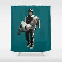 beth hoeckel Shower Curtains featuring daryl and beth by Mia Eshkol