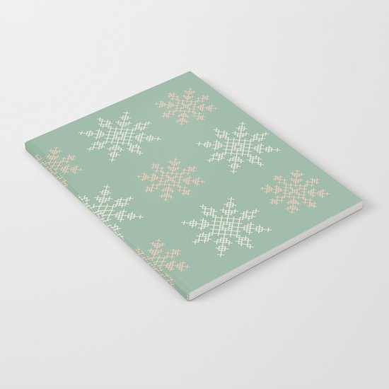 Snowflakes Cross Stitch Pattern (Mint) Notebook