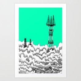San Francisco - Sutro Tower (green sky) Art Print
