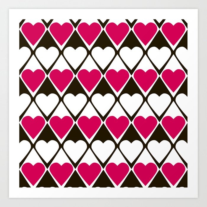 Abstract print with hearts Valentines Day love Art Print