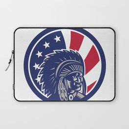 Native American Indian Chief USA Flag Icon Laptop Sleeve