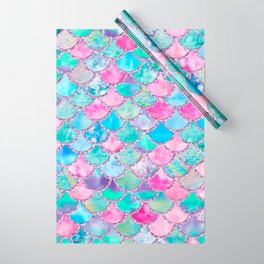 Colorful Pink and Blue Watercolor Trendy Glitter Mermaid Scales  Wrapping Paper