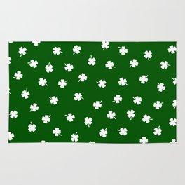 White Shamrocks Green Background Rug