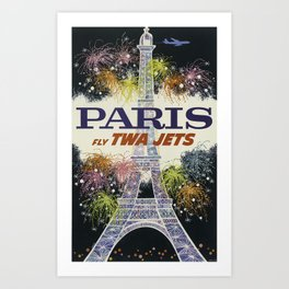 Paris Fly TWA Jets - Vintage Travel Poster Art Print