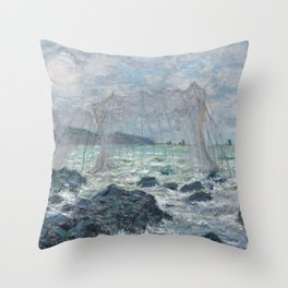 Fishing Nets at Pourville by Claude Monet Throw Pillow