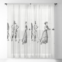 Vintage golfers from Won at the Last Hole A Golfing Romance Etc Sheer Curtain