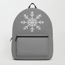 Light Gray Snowflake on Silver Gray Backpack