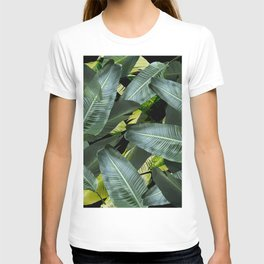 Topical palm leaf, banana leaf, black background, greens, Beach Hawaii decor T-shirt