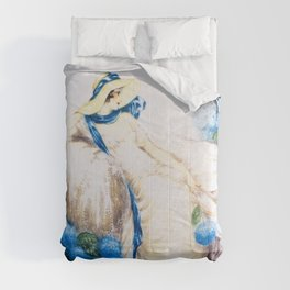 Louis Icart - Hunting - Pink Lady - Digital Remastered Edition Comforters