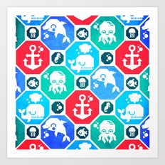 Marine Animals Geometric Pattern Art Print