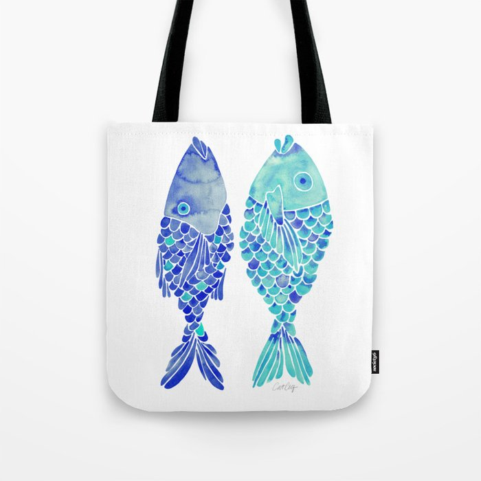 Indonesian Fish Duo – Navy & Turquoise Palette Tote Bag
