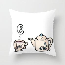 Kawaii country teapot and cup cartoon illustration Throw Pillow