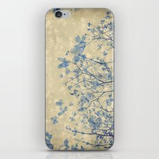 Vintage Duotone Indigo Blue and Cream Spring Dogwood Branches iPhone & iPod Skin