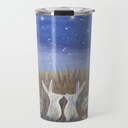 Hares and the Crescent Moon Travel Mug