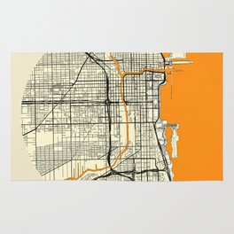 Chicago Map Moon Rug