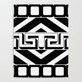 PLAIN BLACK AND WHITE MODERN ART ABSTRACT DESIGN Poster