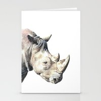 rhino Stationery Cards featuring RHINO by Anne Hviid Nicolaisen