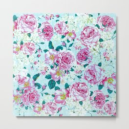 Vintage modern pink green teal watercolor floral Metal Print