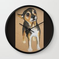 chihuahua Wall Clocks featuring Chihuahua by PaperTigress