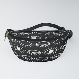 Sleepy pattern black Fanny Pack