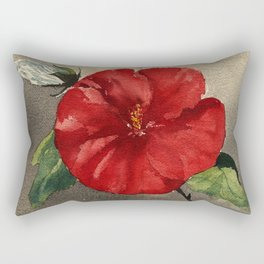 Red Painted Flower notes Rectangular Pillow