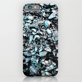 cyan black broken glas iPhone Case