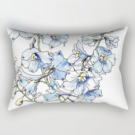 Blue Delphinium Flowers Rectangular Pillow